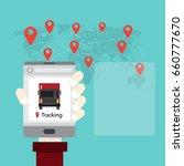 mobile tracking truck ... | Shutterstock .eps vector #660777670