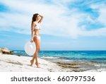 Beautiful woman in white bikini....