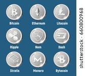 cripto currency logo silver... | Shutterstock .eps vector #660800968