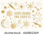 golden stars  moons  comets.... | Shutterstock .eps vector #660802369