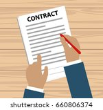 hand with red pen signing a... | Shutterstock .eps vector #660806374