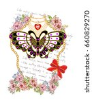 butterfly and flowers... | Shutterstock .eps vector #660829270