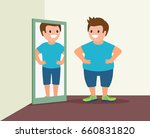 fat man and mirror. guy sees... | Shutterstock .eps vector #660831820