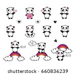 set of stickers with cute... | Shutterstock .eps vector #660836239
