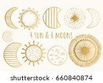 golden moons and suns. vector.... | Shutterstock .eps vector #660840874