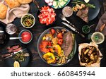 grilled steak with grilled... | Shutterstock . vector #660845944