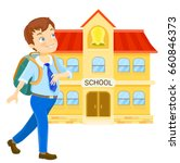 young boy with backpack walking ... | Shutterstock . vector #660846373