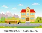 cartoon illustration with bus... | Shutterstock . vector #660846376