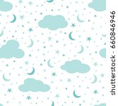 clouds  moon and stars in the... | Shutterstock . vector #660846946