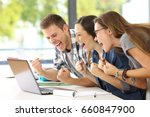 side view of three excited... | Shutterstock . vector #660847900