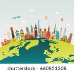 travel and tourism background.... | Shutterstock .eps vector #660851308