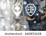 Small photo of Pharmacy compliance. Pharmaceutical regulations. Pharmacist offers pill ( drug ), businessman represent clipboard (checklist) with pencil icon on virtual screen. Health care business rules.