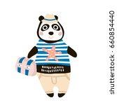 cute dressed panda tourist hand ...   Shutterstock .eps vector #660854440