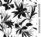 black and white flowers with... | Shutterstock .eps vector #660856408