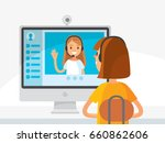 girl siting by screen. video... | Shutterstock .eps vector #660862606