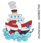 cartoon ship on waves   Shutterstock .eps vector #660882760