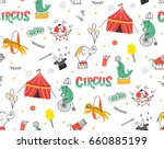 vintage circus doodle seamless... | Shutterstock .eps vector #660885199