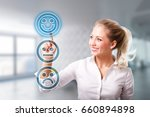 businesswoman is selecting a... | Shutterstock . vector #660894898