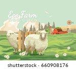 farm rural landscape.... | Shutterstock .eps vector #660908176