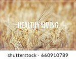 word healthy living. gold wheat ... | Shutterstock . vector #660910789