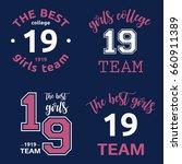 the best girls team college... | Shutterstock .eps vector #660911389