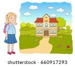 cartoon little girl with...   Shutterstock .eps vector #660917293