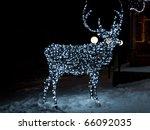 glowing reindeer made of wire... | Shutterstock . vector #66092035