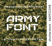 army alphabet font. stencil... | Shutterstock .eps vector #660922348