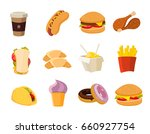 cartoon fast food collection....   Shutterstock . vector #660927754