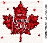 happy canada day handdrawn... | Shutterstock .eps vector #660930208