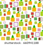 seamless pattern with flat full ... | Shutterstock .eps vector #660941188