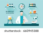 scientist flat illustration | Shutterstock .eps vector #660945388