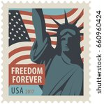 postage stamp with new york... | Shutterstock .eps vector #660960424