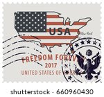 map of america in colors of the ... | Shutterstock .eps vector #660960430