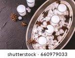 arabic alcohol drink raki with... | Shutterstock . vector #660979033