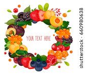 round ring label with berries.... | Shutterstock .eps vector #660980638