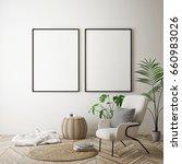 mock up poster frame in hipster ... | Shutterstock . vector #660983026