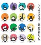 set of sixteen color stickers... | Shutterstock .eps vector #660983140