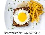 egg  steak and fries breakfast  ... | Shutterstock . vector #660987334