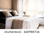 bed maid up with clean white... | Shutterstock . vector #660988726