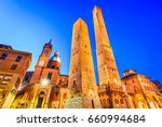 bologna  italy   two towers ... | Shutterstock . vector #660994684