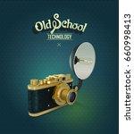 vintage gold camera at the dark ... | Shutterstock .eps vector #660998413