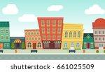 funny cartoon cityscape street...   Shutterstock .eps vector #661025509