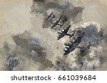 watercolour painting of flight... | Shutterstock . vector #661039684