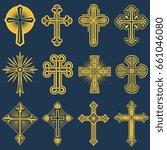 gothic catholic cross icons ... | Shutterstock . vector #661046080