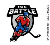 hockey player  logo  emblem. | Shutterstock .eps vector #661050238