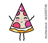 kawaii cute happy slice pizza... | Shutterstock .eps vector #661050748