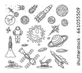 space doodle linear icons.... | Shutterstock . vector #661055509