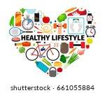 healthy lifestyle heart emblem. ... | Shutterstock . vector #661055884