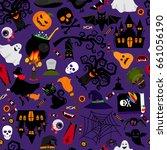 seamless halloween pattern... | Shutterstock . vector #661056190